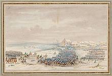 GOBAUT, GASPARD (1814 Paris 1882). Battle scene. Gouache, 13 x 20