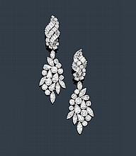 DIAMOND EAR PENDANTS, ca. 1960.Platinum