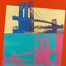 WARHOL, ANDY (Pittsburgh 1928 - 1987 New York) Brooklyn Bridge. 1983. Farbserigrafie. 167/200. Unten links vertikal signiert: Andy Warhol. Blattmass 100 x 99,5 cm auf Lenox Museum Board. Erschienen bei The 1983 Brooklyn Bridge Centennial Commission,