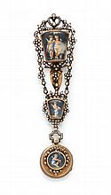 MINIATURE AND PEARL VERGE WATCH WITH CHATELAINE,