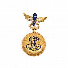 ENAMEL AND GOLD PENDANT WATCH WITH BROOCH, ca.