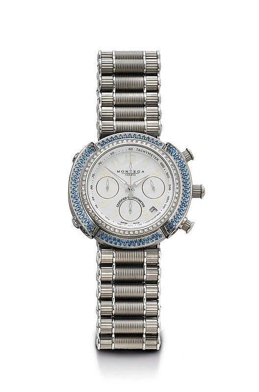 SAPPHIRE AND DIAMOND WRISTWATCH, CHRONOGRAPH