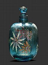 EMILE GALLEFLAKON, um 1890Blaues Glas geätzt und