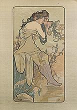 ALFONS MUCHA (1860-1939), SILK PRINT, c. 1900. Silk printed in colour. Young woman with flowers. Signed, lower left Mucha. 31x44 cm.