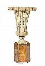 BAGUESURNEN-LAMPE, um 1940Blech bemalt und Verre
