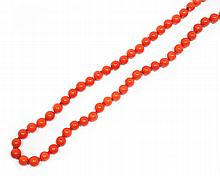 CORAL NECKLACE.Attractive, endless necklace of 85