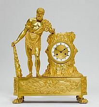 MANTLE CLOCK,Restoration, Paris, ca. 1830.Gilt