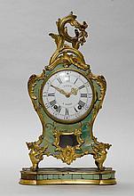 GREEN HORN CLOCK,Louis XV, Paris, 18th century.
