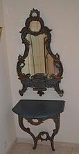 PAINTED CONSOLE WITH MIRROR,Baroque style, Italy,