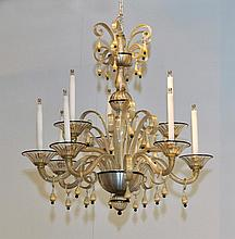 CHANDELIER AND PAIR OF APPLIQUES, Murano, 20th