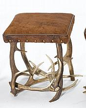 ANTLER STOOL,in the rustic style. Square,