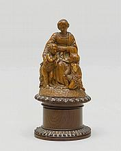 BOX WITH GROUP OF FIGURES,19th century.Hardwood,
