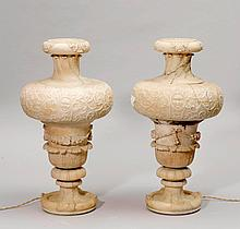 PAIR OF ALABASTER VESSELS AS LAMPS,Art Nouveau and