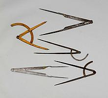 LOT OF 5 PAIRS OF COMPASSES,18th/19th