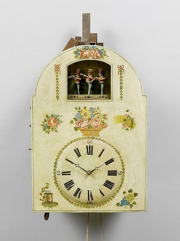 A LARGE FLUTE CLOCK WITH AUTOMATON,Biedermeier,