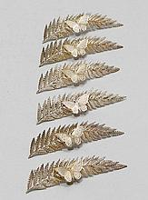 6 PLACE CARD HOLDERS,London, 1896. With maker's