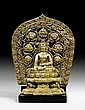 A FINE BRONZE FIGURE OF SHAKYAMUNI COMBINED WITH