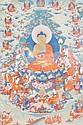 A FINE THANGKA SHOWING BUDDHA SHAKYAMUNI ON A HIGH