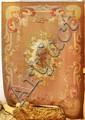 AUBUSSON antique. Brown central field with a white