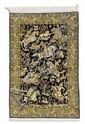 GHOM SILK.Black central field depicting a hunting