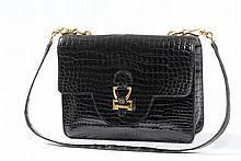 Krokotasche, Hermès, schwarz, Mod. 'Sandrine'