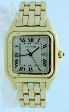 Men's rare 18kt yellow gold Cartier Panthere  Quartz Jumbo size 30mm Complete with original box,  tags, manual, original warranty, extra link.  126  grams fits 7 1/2 inch wrist. Comes with one year  inhouse warranty. Shipping $32.00