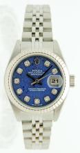 Ladies Stainless Steel Rolex Datejust. 28.5MM  with Jubilee band. Sodalite Diamond Dial and  fluted bezel. Retail $7,850.00. $32.00 S&H
