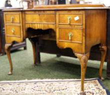 19th Century ladies' mahogany bonheur du jour with a green and gilt tooled leather insert
