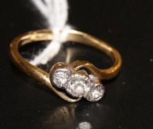 18ct gold and platinum engagement ring with three stones