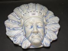 Burleigh Ware, a rare ceramic wall mask of a native American, blue wash and salt-glazed