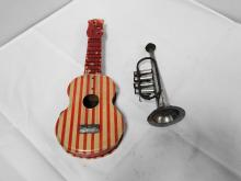 CHILDS TIN GUITAR AND TRUMPET