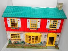 TIN LITHO DOLL HOUSE 2 STOREY LIKE NEW