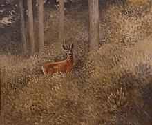 Hubert J Pepper (1928-1985) - Standing deer in a