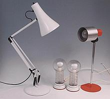 A white enamel painted anglepoise lamp, having