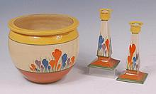 A pair of Clarice Cliff Crocus pattern pottery