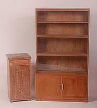 An Art Deco limed oak four section stacking