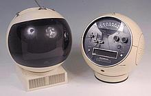 A JVC Videosphere television on stand, in cream