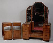 An Art Deco figured walnut five piece bedroom