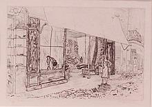 Anthony Gross (1905-1984) - Drapers shop, etching,