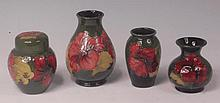 A collection of modern Moorcroft Hibiscus pattern