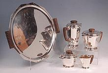 A French Art Deco silver plated five piece tea and