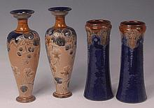 A pair of Royal Doulton stoneware vases, of