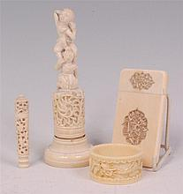 A small quantity of Chinese carved ivories, to