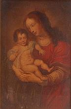18th century school - Madonna and child, oil on