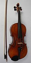 A Continental cased violin, probably 19th century,