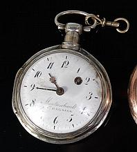 An early 19th century French silver pocket watch,