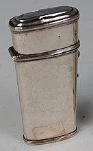A mid-18th century silver etui, of plain hinged