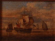 18th century English school - Boats in calm seas,