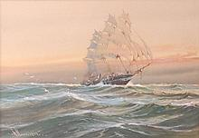W Knox RBA - Running for port, watercolour and