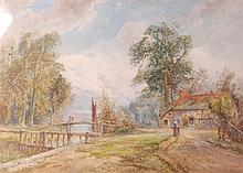 Hugh Hisbett - Extensive landscape with tavern and